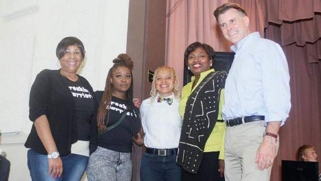 Breaking Barriers' Co-Founders Stephanie Munford, Ayana Card, and Poet Gold with Senator Andrea Stewart Cousins and Senator Terry Gipson.