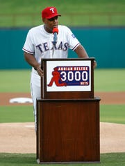 Texas Rangers third baseman Adrian Beltre (29) speaks