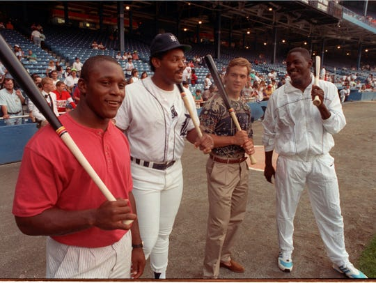 Few could have expected back in 1990 that this photo of, from left, Barry Sanders, Cecil Fielder, Steve Yzerman and Joe Dumars would feature two future Detroit general managers.