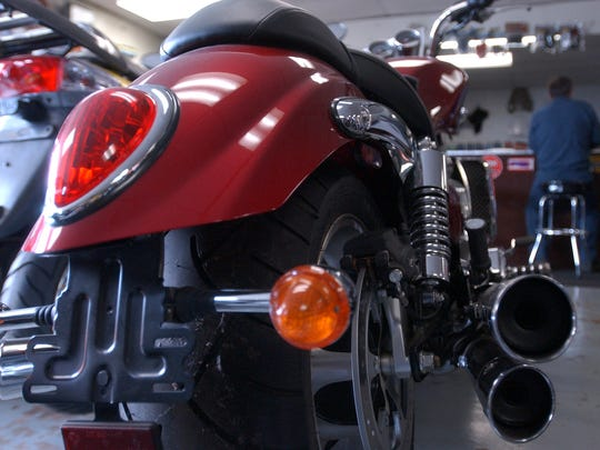 Steve Kasten has a 2005 Triumph Rocket III, the worlds largest production motorcycle, on display in his S-K Service shop in Hatley in this 2006 file photo.