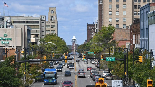 The skyline of downtown Erie is seen from the State Street railroad overpass.