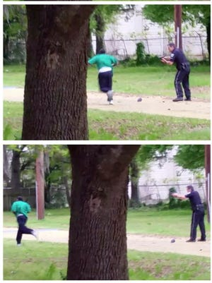 Still images from the witness video courtesy of the attorney representing Walter Scott's family.