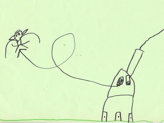 A drawing by 5-year-old Jonathan Juarez depicting his