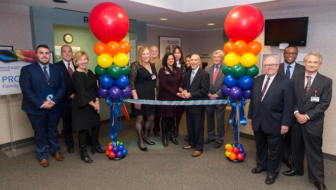 From left: Christian Fuscarino, executive director, Garden State Equality; Michael Antoniades, president and CEO, Robert Wood Johnson University Hospital; Amy Mansue, president, Southern Region, RWJBarnabas Health; Nicole Brownstein, president, the Pride Center of New Jersey; Dennis Sullivan, Somerville Borough Council; Dr. Lalitha Hansch, director, Somerset Family Practice; Jackie Baras, RN, facilitator, Transgender Family Support Group at Robert Wood Johnson University Hospital Somerset; Trina Parks, corporate chief diversity and inclusion officer, RWJBarnabas Health; Tony Cava, chief administrative officer, Robert Wood Johnson University Hospital Somerset; Peter Palmer, Somerset County Freeholder; Steve Jones, chief academic officer, RWJBarnabas Health; Milt Anderson, chief administrative officer, RWJBarnabas Health; and Dr. Jim Salwitz, president, medical/dental staff, Robert Wood Johnson University Hospital, New Brunswick.