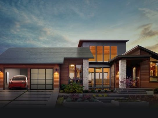 House with Tesla solar roof.