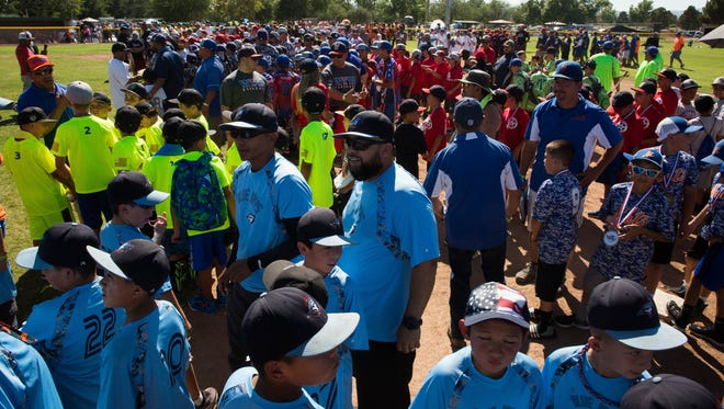 Little League baseball teams from across the southwest gathered at Apodaca Park on Friday, June 30, 2017 at Apodaca Park. More than 100 teams are competing in the World Series event.