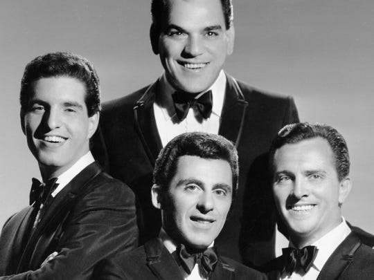 The Four Seasons pose for a portrait circa 1963 in New York City. They are Nick Massi (clockwise from the top), Tommy DeVito, Frankie Valli and Bob Gaudio.