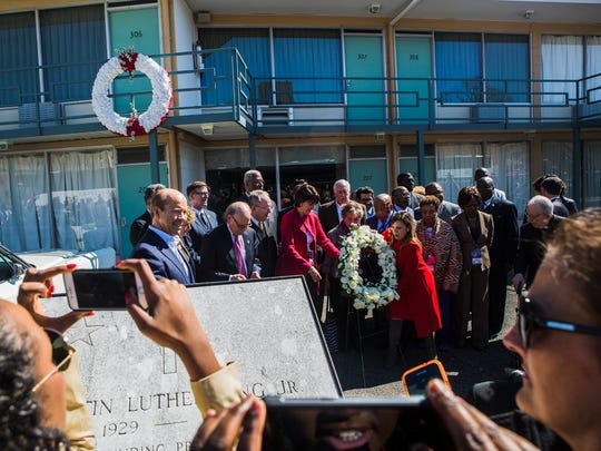 March 2, 2018 - People snap photos of Congressman and civil rights icon John Lewis (behind wreath) as he attends a bipartisan civil rights pilgrimage by members of Congress, at the National Civil Rights Museum in Memphis, Tenn., on Friday. Lewis, Senator Lamar Alexander, and Congressman Steve Cohen led the event with nearly 30 bipartisan members of Congress, community leaders, and Faith and Politics Institute leadership to explore the life and legacy of the Rev. Dr. Martin Luther King, Jr. King was fatally shot while standing on the balcony, in front of Room 306, at the Lorraine Motel, currently the National Civil Rights Museum, on April 4, 1968.