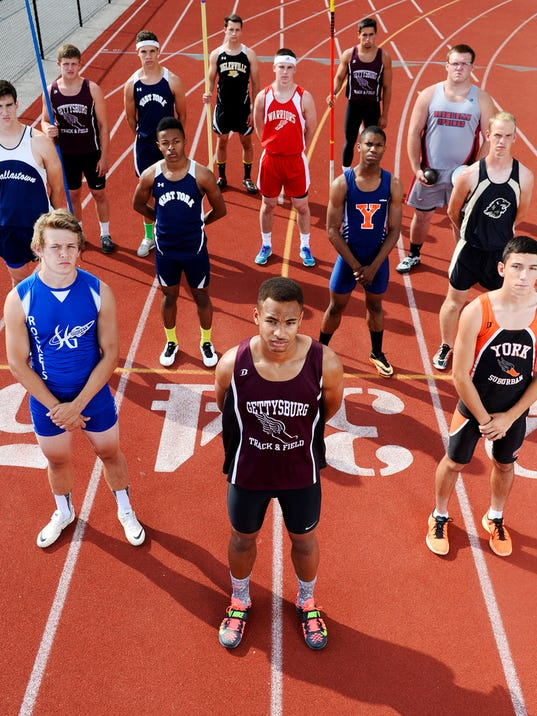 The GameTimePA.com YAIAA boys' track and field first-team all-stars are, from left, back row: Biglerville's Danny Stoner and Gettysburg's Nathan Sharrah; third row: Gettysburg's Wade Laudeman, West York's Andrew Moyer, Susquehannock's Tyler Buckley and  Bermudian Springs' Dustyn Lauver; second row: Dallastown's Owen Ritter, West York's Abdul Junaid, William Penn's Larell Anderson and Red Lion's Ethan Gatchell; and front row: Spring Grove's Shay Feulmer, Gettysburg's Ravaughn Dillard and York Suburban's Brady Wilt. Not pictured are Gettysburg's Kobe Wansel and York Tech's Thad Cwiklinski.