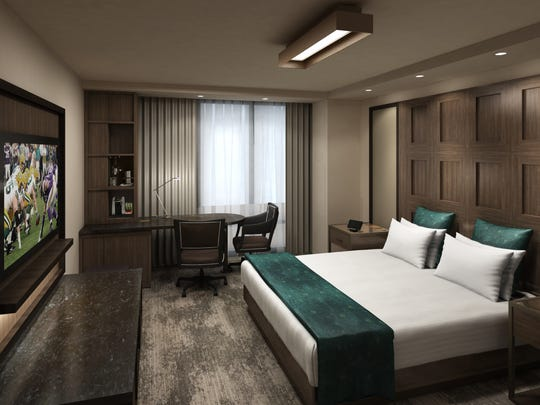 A rendering of a king bedroom at Lodge Kohler, under construction in the Green Bay Packers' Titletown District.