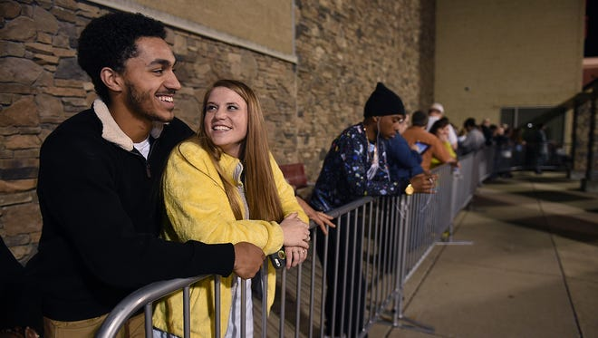 Trey Wiedman and Aliyah Sharp of Dickson wait in line outside of Target on Thanksgiving night on Nov. 26, 2015. The couple were hoping to purchase several TVs.