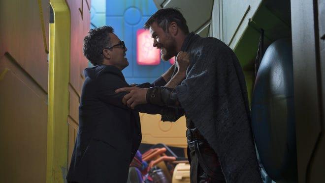"Mark Ruffalo (left) and Chris Hemsworth star in ""Thor: Ragnarok."""