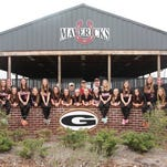From left are LP Trammell, Rachel Wolverton, Avery Burns, Amber Rinewalt, Ashlyn Bennett, Kenzie Nichols, Sydney Olander, Lizzy Self, Carly Thompson, Claudia Mayo, Natilyn Hasty, Madalyn Wilkinson, Keely May, Madi Nichols, Avery Gardner, JoJo Turbville, Baliey Baudier, Megan Cummins, Bailey Turbville, Sydney Shell, Breanna Hasty and coaches Karen McCullouch (assistant), Lindsey McMullen (head), Kenny Perry (assistant).