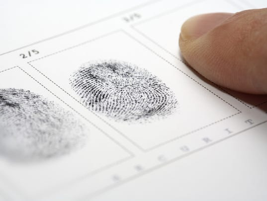 Close up of stamping fingerprints