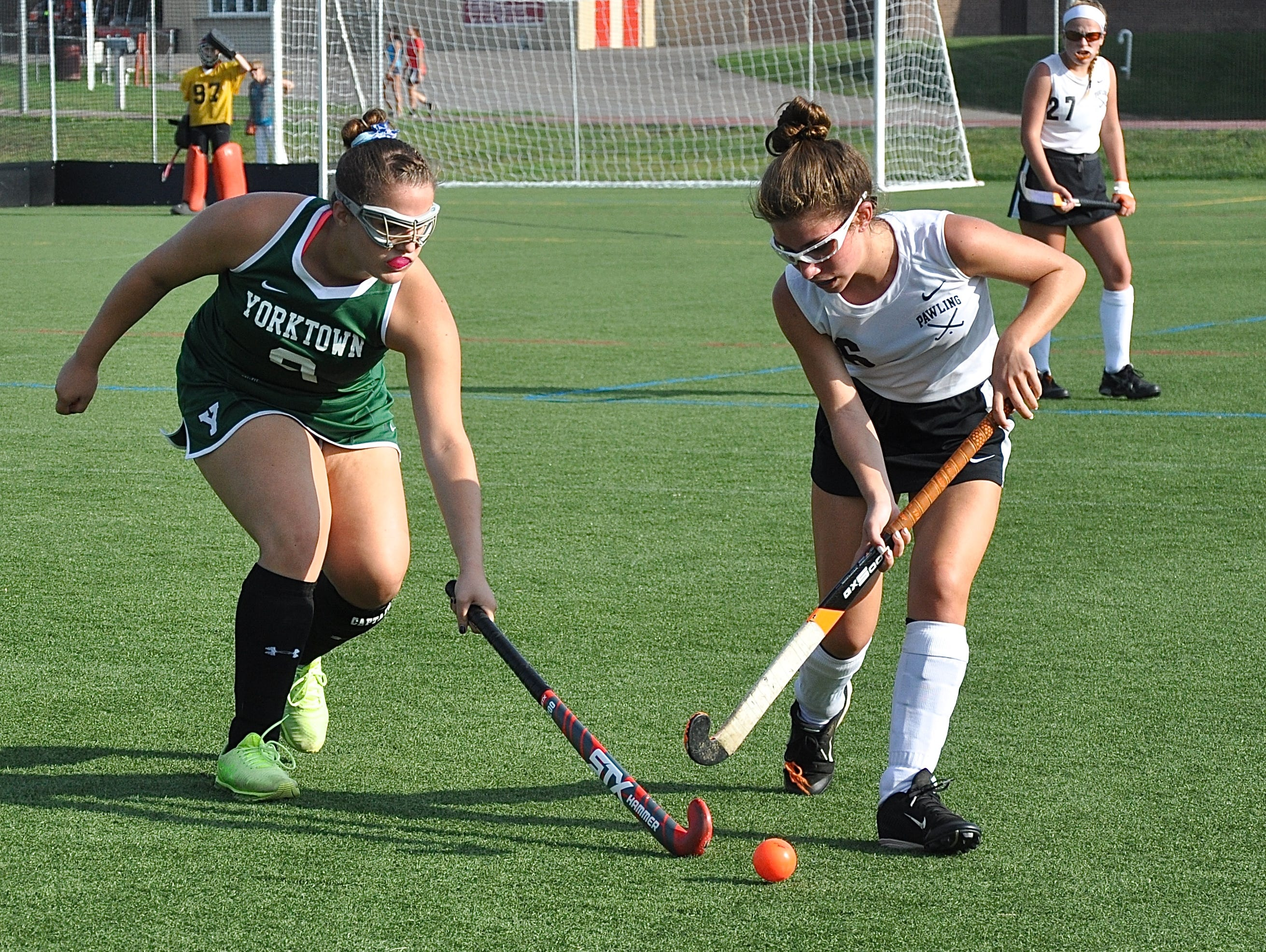 Cornhusker Natalie Grammer tries to stop Pawling's Frankie Fleming during the Somers Tournament consolation game that Pawling won.