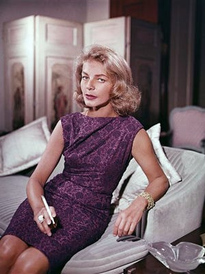 This 1965 file photo shows actress Lauren Bacall at her home in New York. Bacall, the sultry-voiced actress and Humphrey Bogarts partner off and on the screen, died Tuesday in New York. She was 89.
