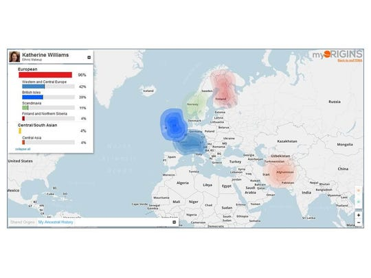 Family Tree DNA's Family Finder test results show European and Central Asia origins for Kathy Haney Williams.