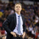 Golden State Warriors head coach Steve Kerr on the sideline during the first quarter against the Sacramento Kings at Sleep Train Arena in Sacramento on Feb. 3, 2015.