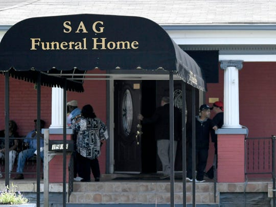 People arrive for the visitation of Taurean C. Sanderlin at SAG Funeral Home in Nashville on Friday, April 27, 2018. Sanderlin was killed during the Waffle House shooting in Antioch.