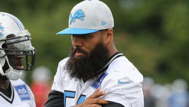 Detroit Lions linebacker DeAndre Levy watches drills on Wednesday, Aug. 26, 2015, at the practice facility in Allen Park.