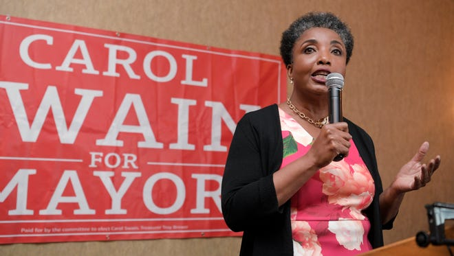 Mayoral candidate Carol Swain gives her concession speech to her supporters at University Club of Nashville at Vanderbilt University Thursday, May 24, 2018, after losing to Mayor David Briley in a special election to fill the remaining time on former Mayor Megan Barry's term.