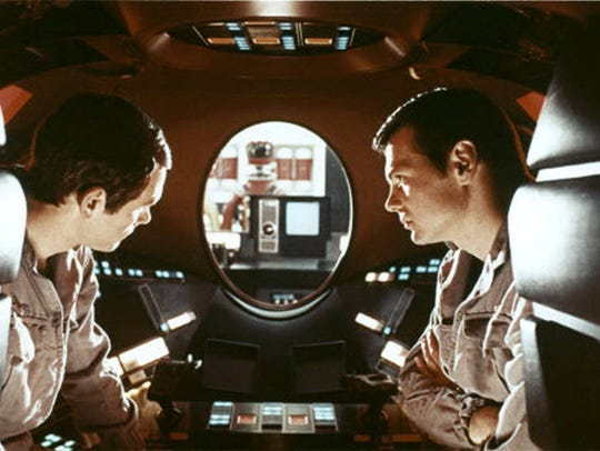 "Keir Dullea and Gary Lockwood in Stanley Kubrick's ""2001:"
