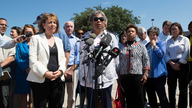 Rep. Brenda Lawrence, D-Mich., speaks outside the U.S. Border Patrol centralized processing center in McAllen, Texas on Saturday, June 23, 2018.