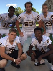 Key players for the Raiders will be (front, left to right) seniors Brendan Huston, Warren Stanfield, (back, from left) Bryce Gresham, Jordon Machlis and Adam Dunning.