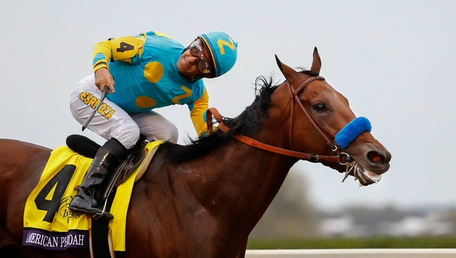 American Pharoah and Victor Espinoza win the Breeders' Cup Classic.  Oct. 31, 2015