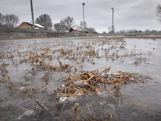 Patches of grass poke through mushy ice on what would normally be the hockey rink at Northway Park on Friday, Jan. 8, 2016