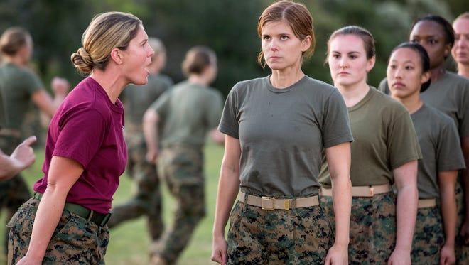 "Megan Leavey stars as bootcamp Drill Sergeant and Kate Mara as Megan Leavey in Gabriela Cowperthwaite's ""Megan Leavey,"" a Bleecker Street release. Credit:  Michael Tacket / Bleecker Street"