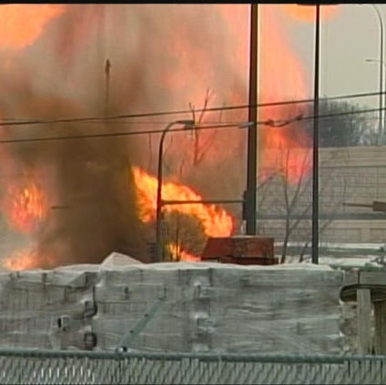 Gas line exploded in South Minneapolis on March 17, 2011.