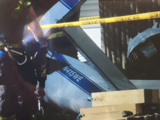A detail of a small plane showing the tail number after it crashed in Lindenwold.