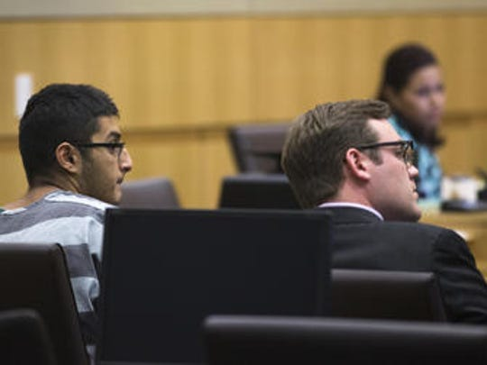 Mahin Atif Khan (left) is arraigned, July 12, 2016, in Judge Sam Myers' Maricopa County Superior courtroom. At right is attorney John Champagne.