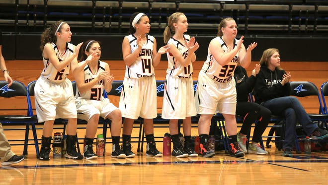 The Rosman bench applauds during a game earlier this season.