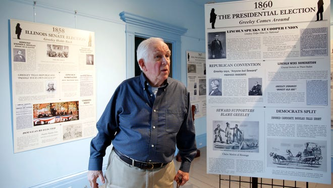 Gray Williams, the curator and town historian of New Castle, talks about a new exhibit called Abraham Lincoln and Horace Greeley: Uncertain Allies. at the Horace Greeley House in Chappaqua. The exhibit opens Friday.