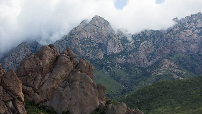 A view of the Organ Mountains from the La Cueva trail at Dripping Springs Natural Area.