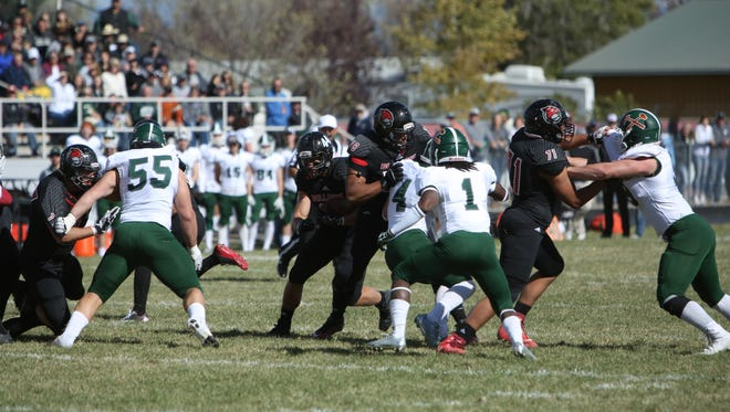 Montana Western's Noah Danielson of Great Falls (No. 71 second from right) missed last season with an injury but is expected to play a key role this fall.