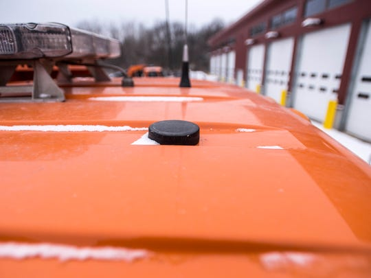 The antenna on a VTrans plow truck at the District 5 garage in Colchester, part of a GPS tracking system that shows in real time where the trucks are on their routes.
