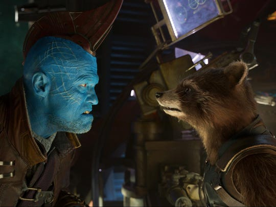 "Yondu (Michael Rooker) and Rocket (voiced by Bradley Cooper) in ""Guardians Of The Galaxy Vol. 2."""