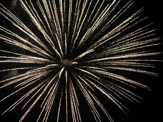 Fireworks light up the night sky Monday night for the