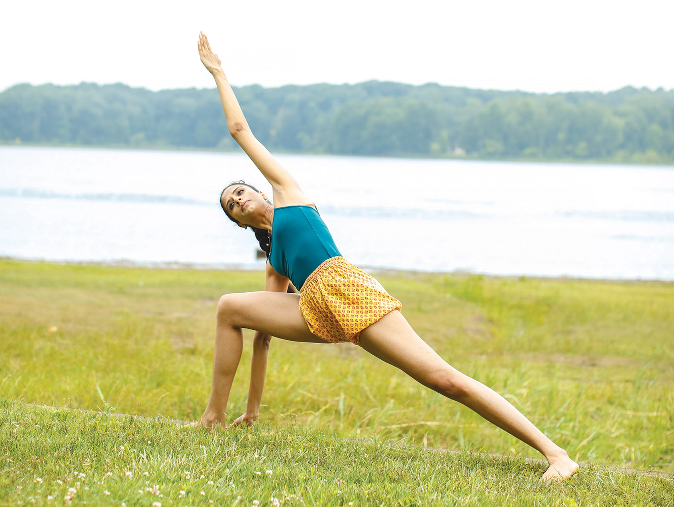 "Amita Bhagat calls yoga poses ""meditation in action."""