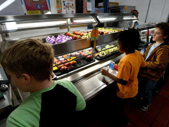 Students going through the food line at South Knoxville