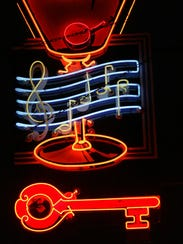 The original neon sign outside the Red Key Tavern,