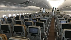 Singapore Airlines' economy cabin is seen on one of