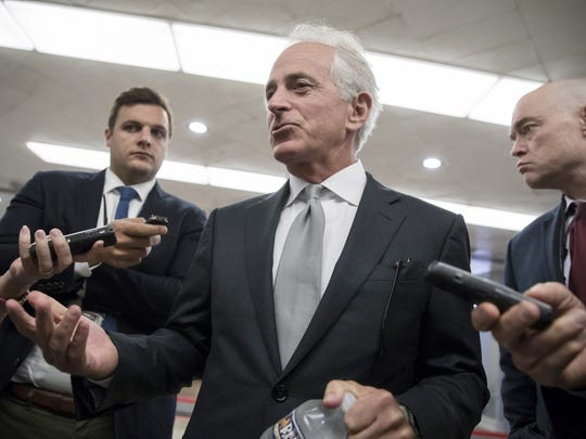 Sept. 26, 2017: Sen. Bob Corker, R-Tenn., chairman of the Senate Foreign Relations Committee, chats with reporters at the Capitol in Washington. Corker, a two-term senator, just announced that he will not run for re-election in 2018.