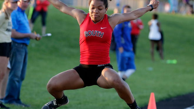 Waukesha's Armoni Brown competes in the Girls Triple Jump during the Myhrun track and field invitational at Arrowhead High School, Saturday, May 5, 2018.   RICK WOOD/MILWAUKEE JOURNAL SENTINEL   ORG XMIT: 20095510A