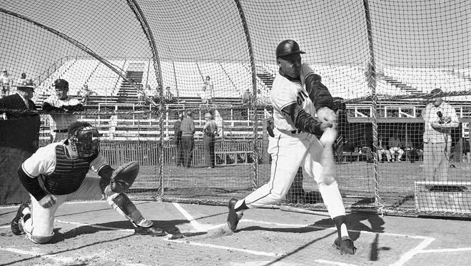 Willie Mays, famed centerfielder for the San Francisco Giants, takes his turn at batting practice during the Giants' spring-training camp in Casa Grande on Feb. 26, 1963.