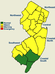 The map shows the counties, in yellow, under a drought watch issued by the New Jersey Department of Environmental Protection.