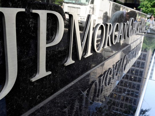 A file photo showing a view of a sign at a JPMorgan Chase building in New York